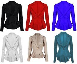 Ladies Long Sleeved Peplum Blazer Jacket Size 8 - 16