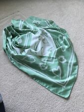 CACHAREL Paris France PARFUMS Sq Silk Scarf w/ Green & White VALENTINES HEARTS