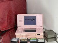 Nintendo DS Lite Pink Console Bundle Lot Case w/ 4 Games, Charger Tested Works