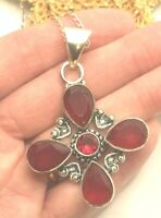 """SIMULATED RED GARNET GEMSTONE 92.5 SOLID STERLING SILVER PENDANT & 14.0"""" CHAIN"""