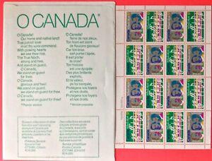 O Canada Centenary Pane 16 Scott #857 & 858 Mint NH, Words & Music on Sleeve