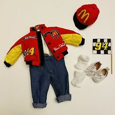 """Vintage Doll Clothes Outfit For 12"""" Dolls Racing Jacket Elliott McDonald's Hat"""