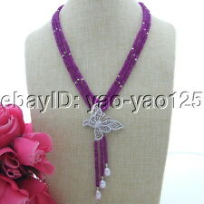 Purple Faceted Jade Freshwater Pearl Necklace Cz Pendant
