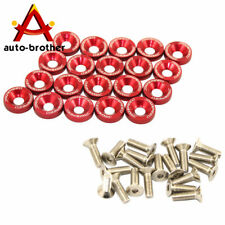 20 PC RED JDM BILLET ALUMINUM FENDER/BUMPER WASHER/BOLT ENGINE BAY DRESS UP KIT