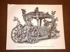Rasissima incisione del 1873 Carrozza di gala di Re Jean V del Portogallo