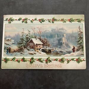 Old Vintage Antique Christmas Postcard 1912 w/1c stamp Embossed Nice