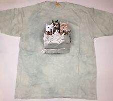 The Mountain Blue Cats Kittens Shopping Bag Portrait Cotton T-Shirt Adult XL