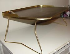 VINTAGE MID CENTURY ATOMIC*FAUX WOOD PARQUET&GOLD FOLDING LAPTOP TV TRAY TABLE