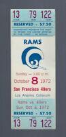 VINTAGE 1972 NFL SAN FRANCISCO 49ERS @ LOS ANGELES RAMS FULL FOOTBALL TICKET OCT