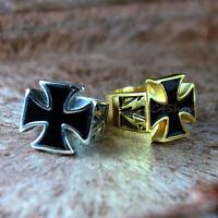 Men's Crusader Knights Templar Iron Cross Pattée Stainless Steel Biker Ring Rock