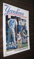 1990 NEW YORK YANKEES SCOREBOOK PROGRAM vs Boston Red Sox Dave Righhetti