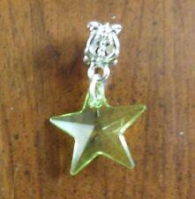 pendentif argenté étoile verte 19x19 mm