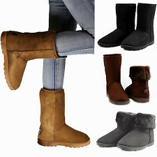 12dbdc3cb7d8 Winter Boots Women Faux Fur Suede Mid Calf Warm Snow Fashion New Boot Shoes  US