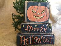 Country Pumpkin Jack-O-Lantern Spooky Halloween Shelf Sitter Wood Block Set