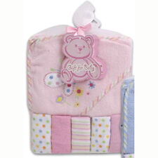 6pc BABY GIRL GIFT SET TERRY HOODED TOWEL w WASHCLOTHS Embroidery Butterfly Pink