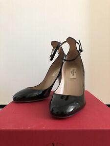Valentino Garavani Tango Ankle Strap Black Patent Pumps Size 37 Heels