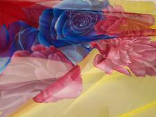 Ladies 2XL-3XL Floral Blue Pink Yellow Sheer Wrap Sarong 195 x 138cm Plus Size
