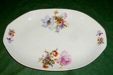 Antiguo talla Cuenco Placa 44cm ovalado flores de colores Porcelana Flor plata