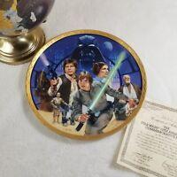 RARE 1987 23K Gold STAR WARS Commemorative Plate Hamilton Collection Jedi VTG