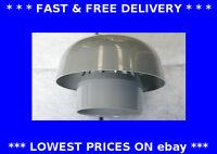 Manrose grey roof cowl 110mm dia plastic ducting chimney rain cap soil pipe