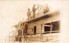 Real Photo Postcard Construction Workers Working on a Building~112487