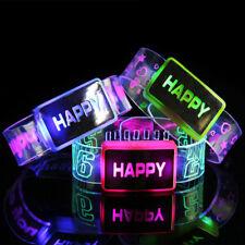 1PC Happy LED Light Up Bracelet Activated Glow Flash Bangle Watch Band Random