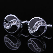 Black Enamel  Crystal Cufflinks