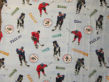 HOCKEY LETS PLAY HOCKEY WORDS BLUE COTTON FABRIC BTHY