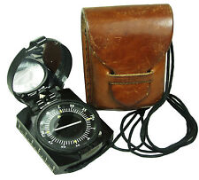 Original POLISH MILITARY COMPASS with Case - Genuine Army 1960s Kit Scale Mirror