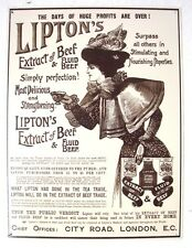 REPRODUCTION OF ANTIQUE  LIPTONS EXTRACT OF BEEF & FLUID ADVERTISING METAL SIGN