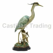 NEW PORCELAIN & BRASS NATURALISTIC HERON FIGURINE