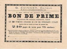 Bon de Prime des Éditions G. ÉDINGER pour l'Achat de Livres Imprimerie H. NOIROT