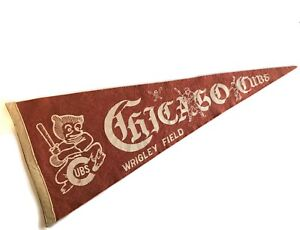 Vintage CHICAGO CUBS Pennant - WRIGLEY FIELD - Originally Purchased in 1950