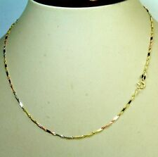14kt multi- tone gold 16'' Sigapore with mirror bar link, sparkly chain 1.5 gram