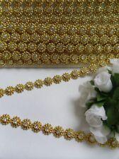 9MM Bright Gold Bead Rhinestone Crystal Chain / Trims, Sew / Glue On-1 Yard-T581