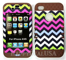 KoolKase Hybrid Armor Silicone Cover Case for Apple iPhone 4 4S - Chevron 04