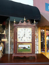Grand Amercian Mahogany Pillar and Scroll Shelf Clock by Eli Terry 19th century.