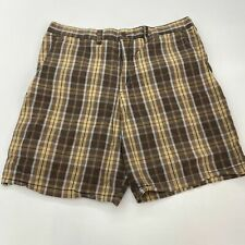 Mossimo Supply Shorts Mens 40 Brown Blue Flat Front Cotton Plaid Slash Pockets