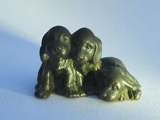 Antique 3 Three metal dogs Cocker spaniel puppies heavy & adorable! sporting