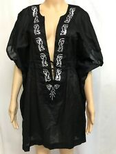 SEA FOLLY SIZE L BLACK EMBELLISHED LIGHT COTTON BATWING KAFTAN TOP