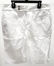 Ralph Lauren Women's White Solid Bermuda Walking Flat Front Shorts Size: 6