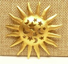 and Moon Pin Brooch A63) Burnished Gold-tone Stars