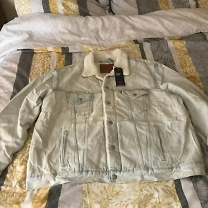 LEVIS VINTAGE FIT SHERPA TRUCKER JACKET White Dry Ice XXL NEW WITH TAGS