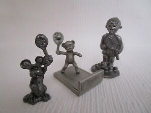 Vintage 3 Pewter TENNIS PLAYER Miniature Figurines Bear, Mouse & Girl w/ Rackets