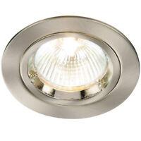 Fixed Round Recess Ceiling Down Light–Nickel–80mm Flush GU10 Lamp Holder Fitting
