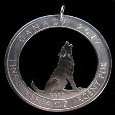 Münzanhänger Silber heulender Wolf