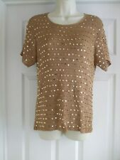 D. Womens Fits Size 12 Gold Top LADIES WORK SMART STRETCH SUMMER SEQUINS CASUAL