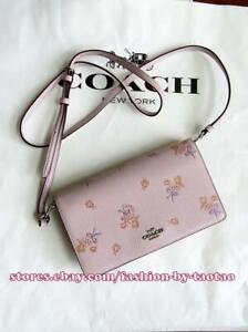 New w Tag Coach 31587 Foldover Crossbody Clutch Floral Bow Print Ice Pink