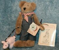 "BOYDS BEAR PLUSH TEDDY BEAR Cooper T Wishkabibble #90502 Farmer PIG AND BOOK 8"""