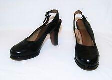 Vintage 40's Southern Charm Black Dark Brown Platform Slingback Heels Size 5 N
